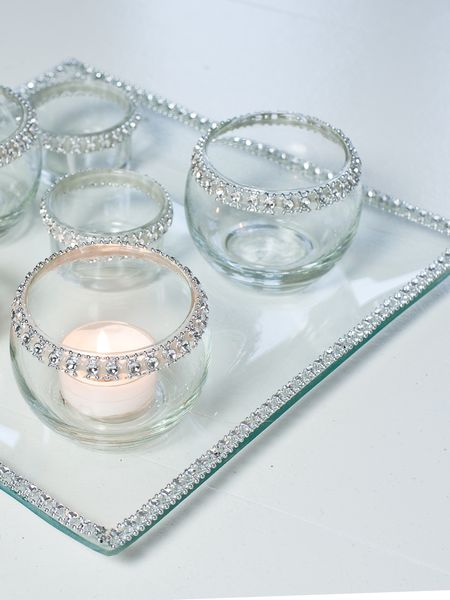 Beaded Glass Candle Plate