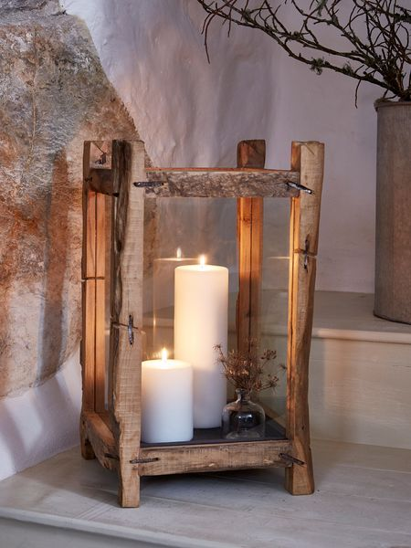 Large Reclaimed Wood Candle Lantern Large Wood Floor