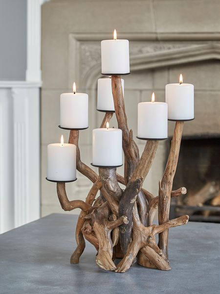 Driftwood Candelabra Rustic Candle Holders Nordic House