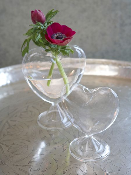 Glass Heart Vase On Foot