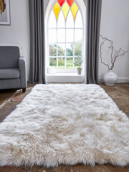 Large Luxurious Sheepskin Rug Champagne Nordic House