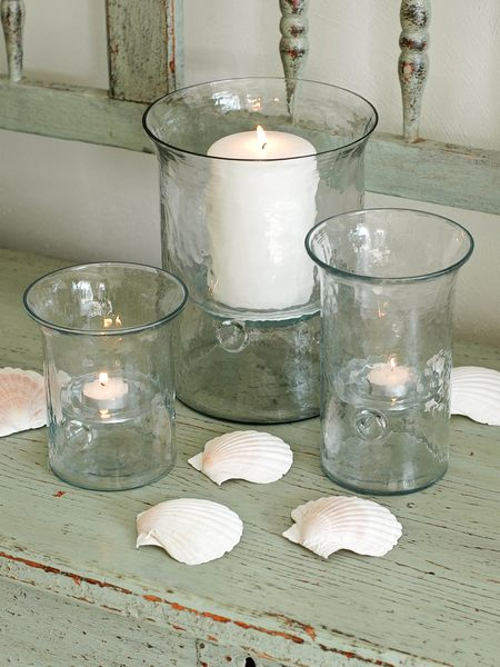 Recycled Glass Hurricane Lamps