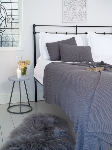 Textured Grey Throw Luxury Bed Throws Nordic House