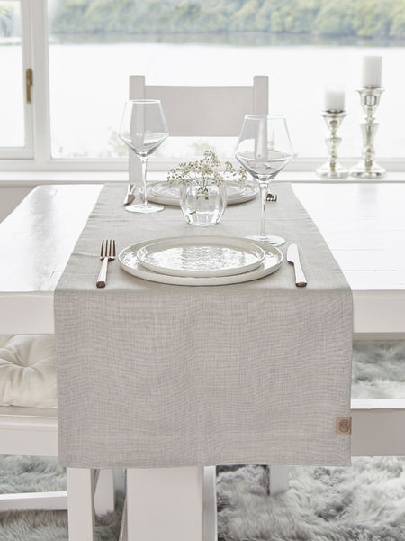 Double Linen Table Runner   Light Grey