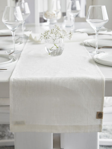 Long Linen Table Runner Off White