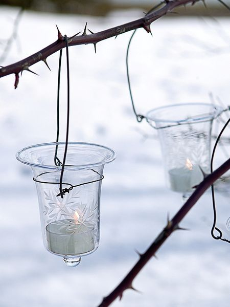 Glass Hanging Tealight - Snowflake