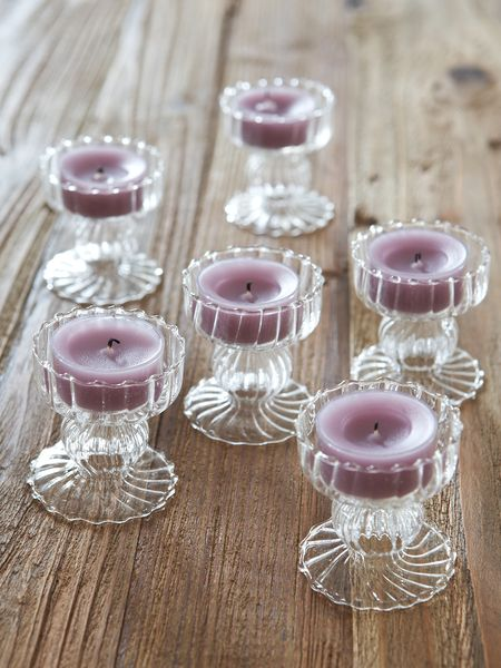 Textured Glass Tealight Holders