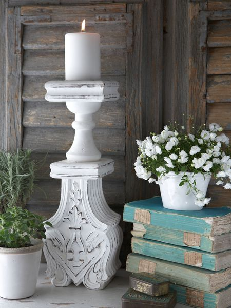 Distressed Pillar Candle Holder