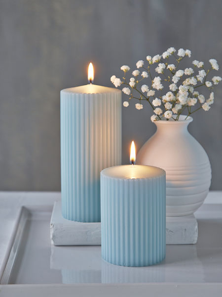 Rilled Pillar Candles Heavenly Blue