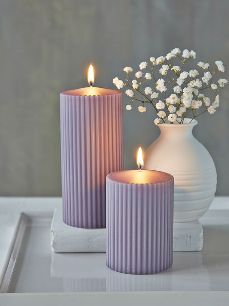 Rilled Pillar Candles Lavender