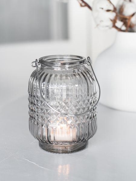 Hanging Glass Tealight Set Smoke Grey
