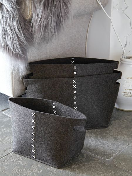 Slate Grey Felt Basket Set Felt Basket Set Nordic House