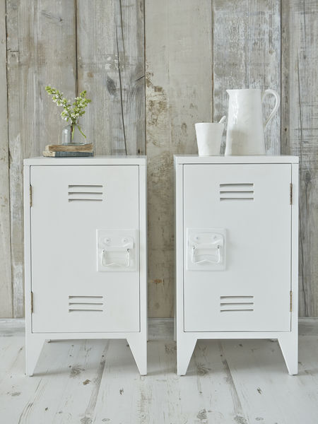 Industrial Bedside Cabinets White
