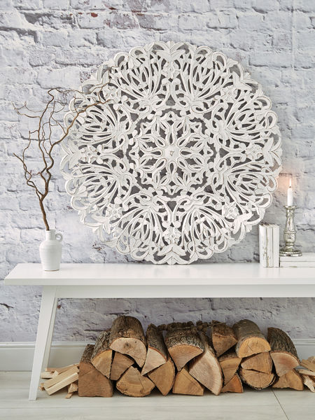 Large Carved Wall Panel Round Carved Wall Panel White