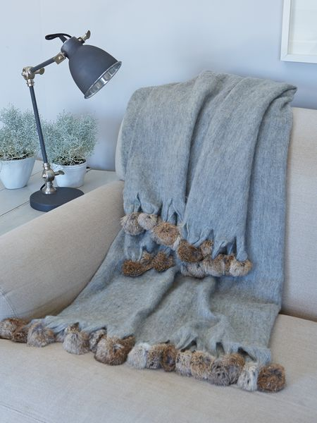 Mohair Throw With Pompoms