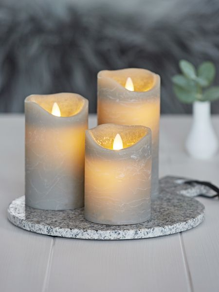 Grey Led Pillar Candle Led Pillar Candles Uk Nordic House