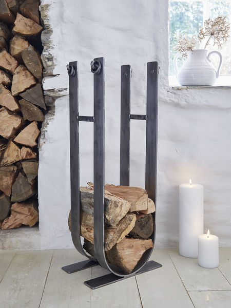 Artisan Wrought Iron Log Stack Firewood Storage Alternative Log Basket
