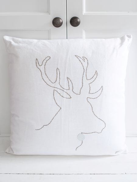 Reindeer Silhouette Cushion - White