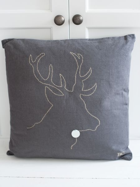 Reindeer Silhouette Cushion - Grey