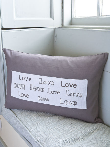 Vintage Graphite Love Cushion