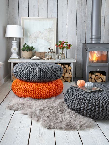 orange decor pouf