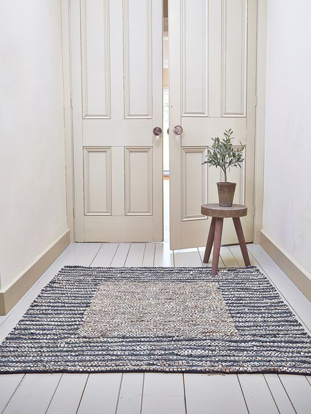 Striped Square Rug Leather Amp Cotton