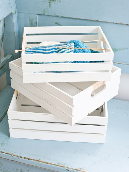 Decorative White Crate Set