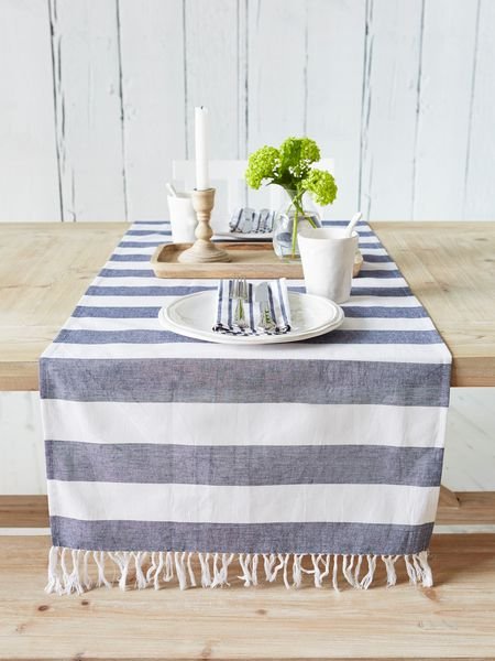 Dark Blue Striped Table Runner