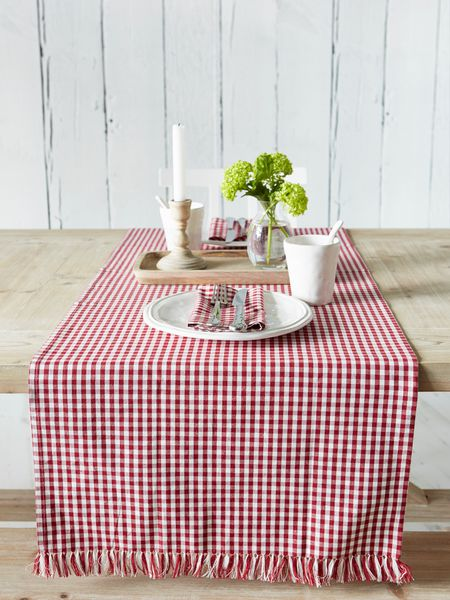 Red Gingham Table Runner   Nordic House
