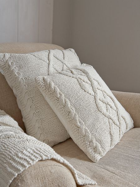 cable knit cushion nordic house
