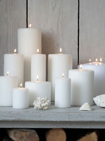 white pillar candles nordic house
