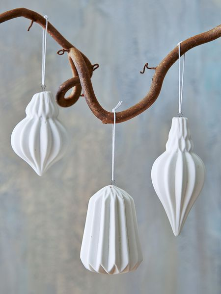 geometric porcelain tree ornaments - nordic house