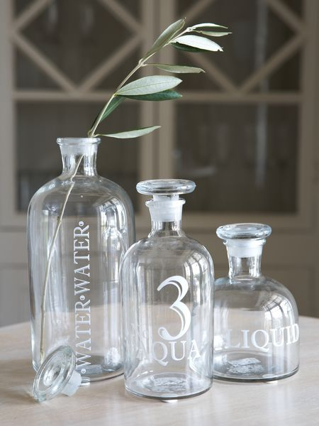 retro glass display bottles - nordic house