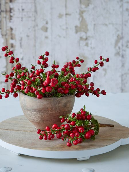 faux red berry branch - nordic house