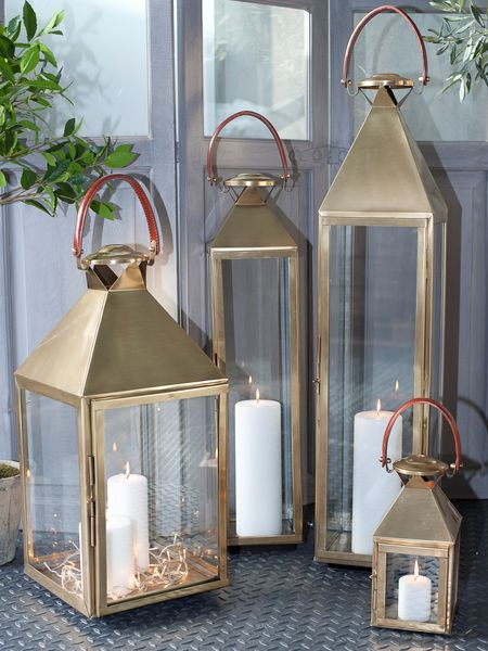 Brass and leather lanterns