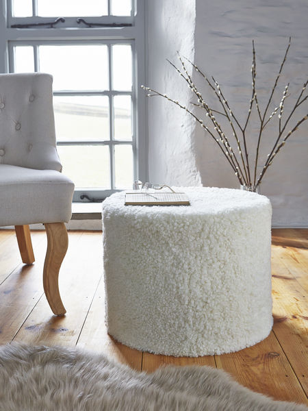 sheepskin pouf - nordic house
