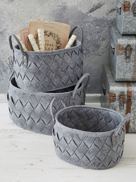 grey woven basket - nordic house
