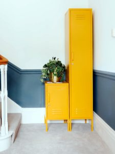 Industrial locker storage in mustard by Nordic House