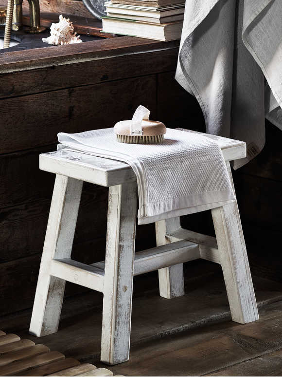 Rustic Wooden Milking Stool - White Washed