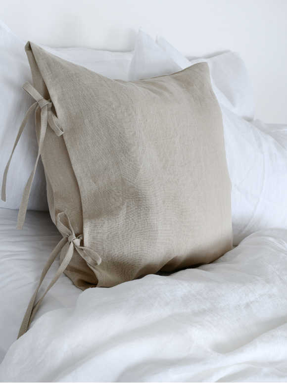 Natural Linen Tie Cushion