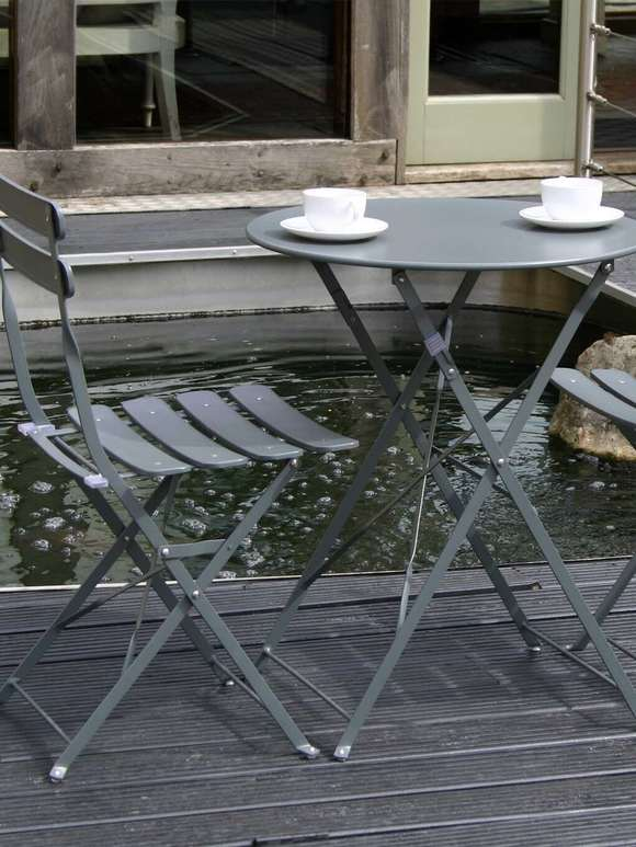 Metal Bistro Set - Dark Grey