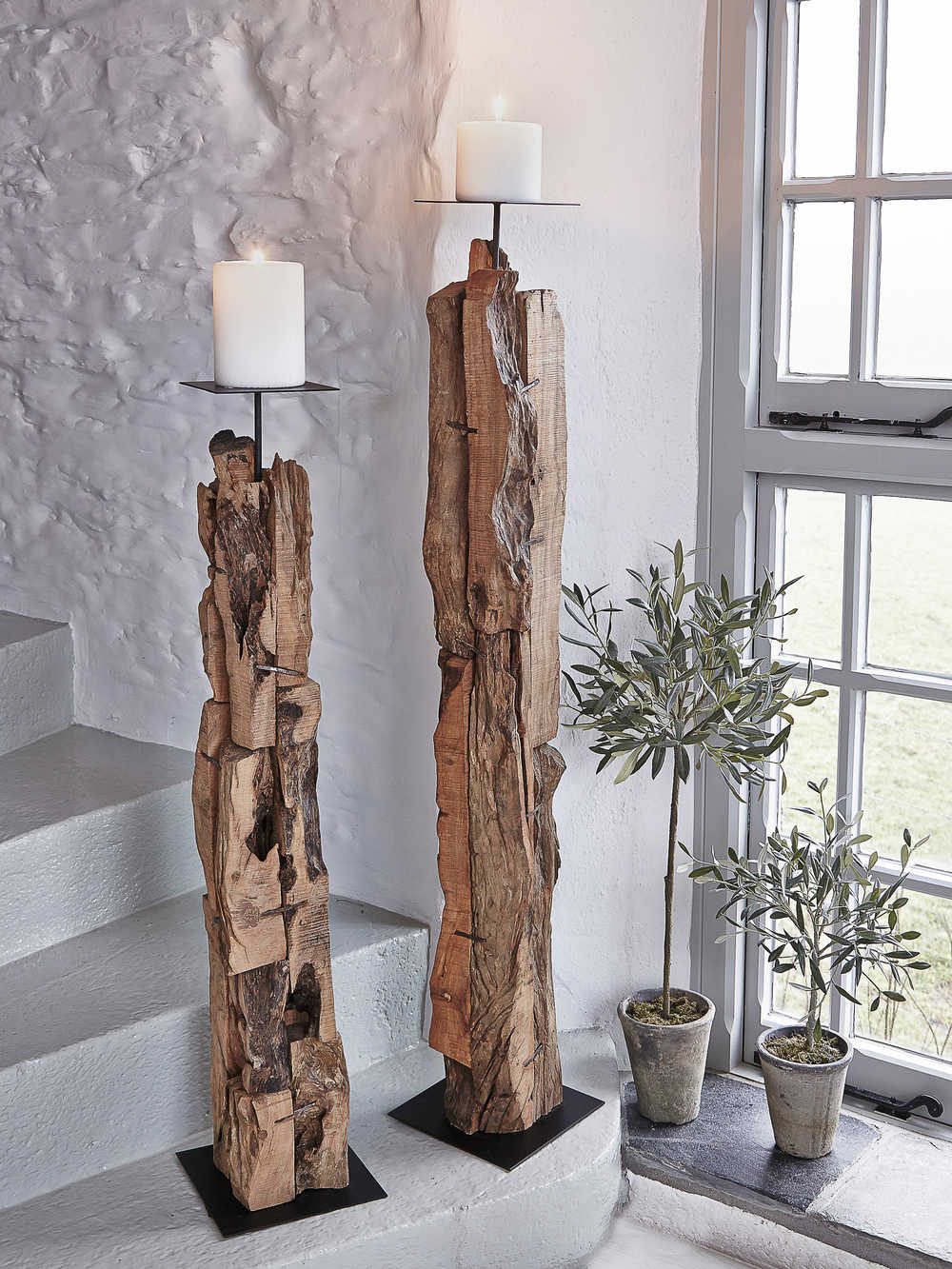 Large Driftwood Candle Holders Wooden Floor Standing