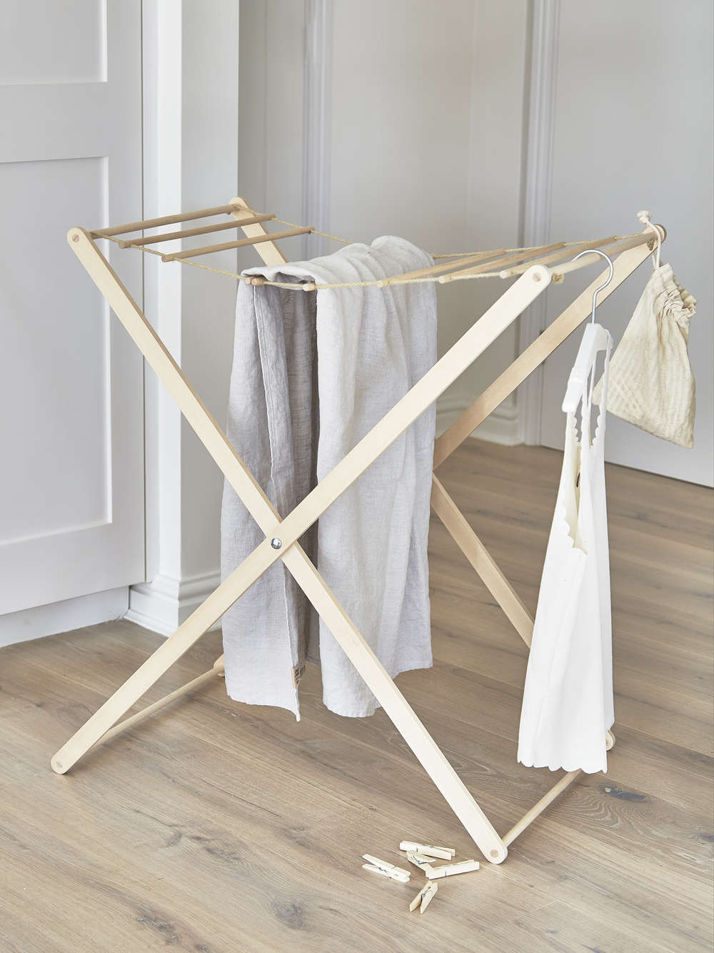 Birch Wood Drying Rack Wooden Clothes Drying Rack