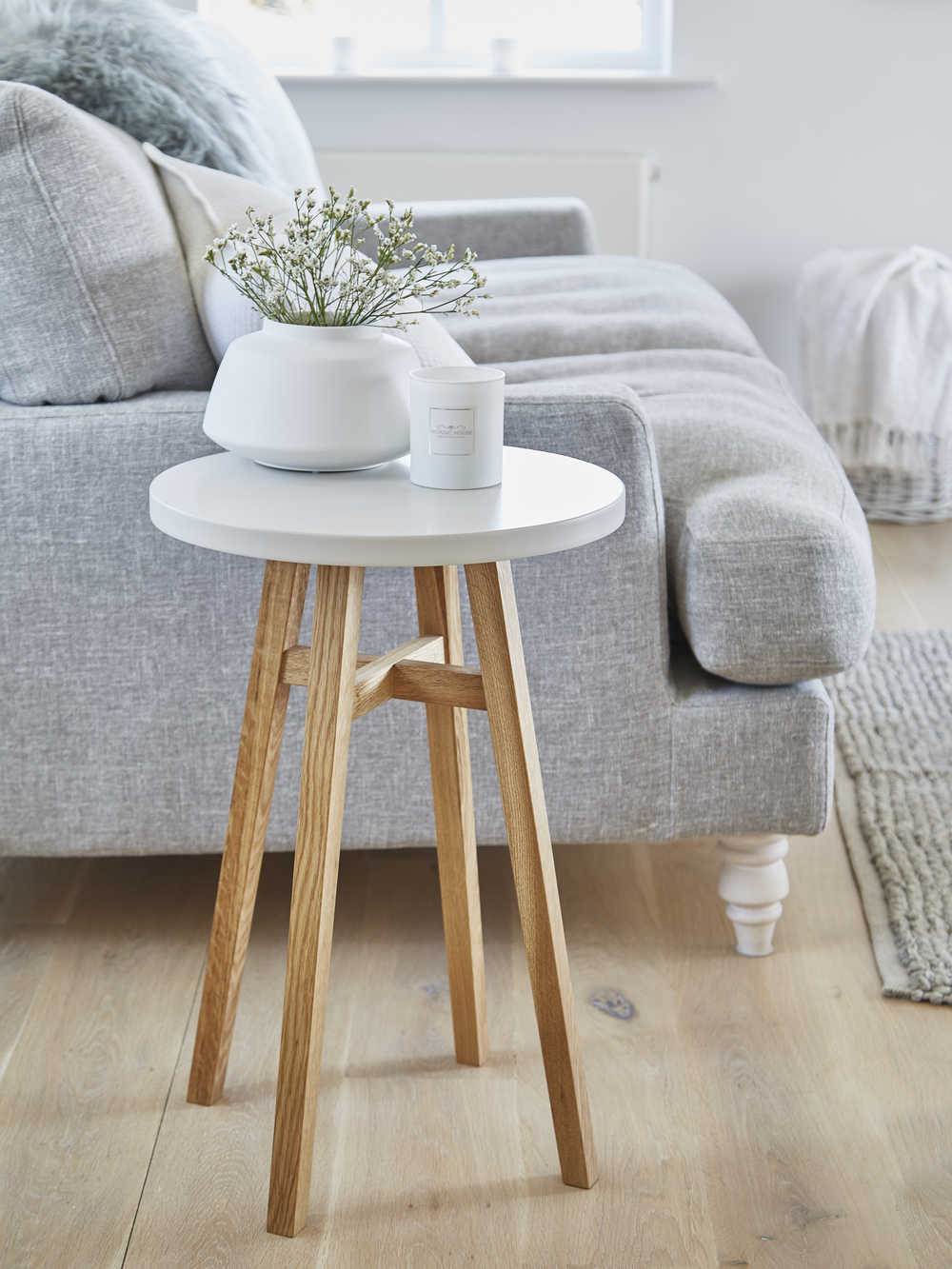Scandi White Side Table Scandinavian Side Tables